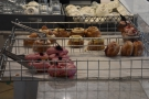 Another view of the doughnuts (foreground) and cruffins and cronuts (behind).