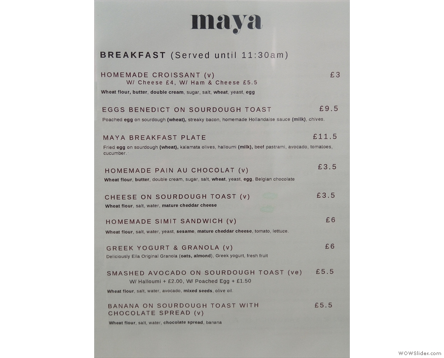 You'll also find a menu on each table with breakfast on one side...