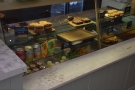 The cakes and other sweet things are displayed down the right-hand side...