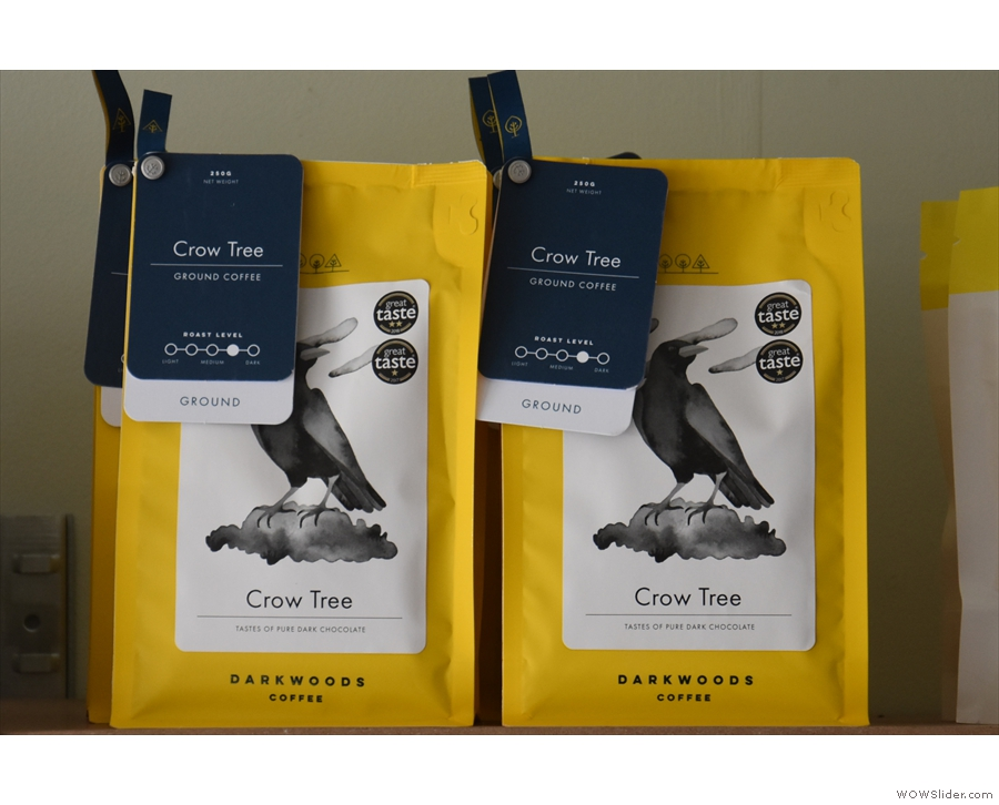 There are also retail bags of the Crow Tree blend from Dark Woods.