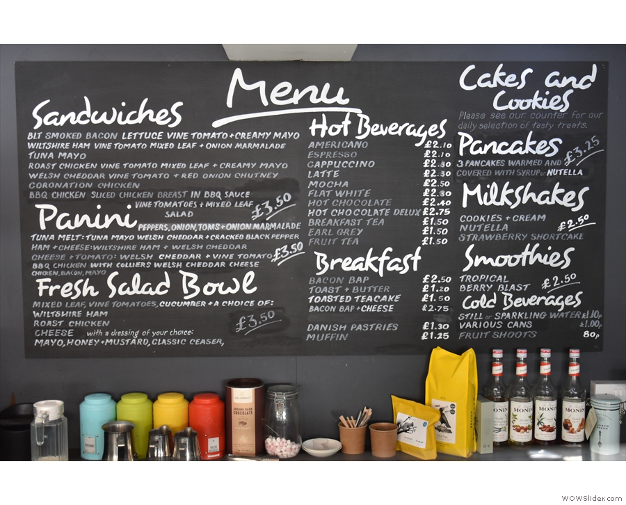 ... where you'll find the menu on the wall to the right...