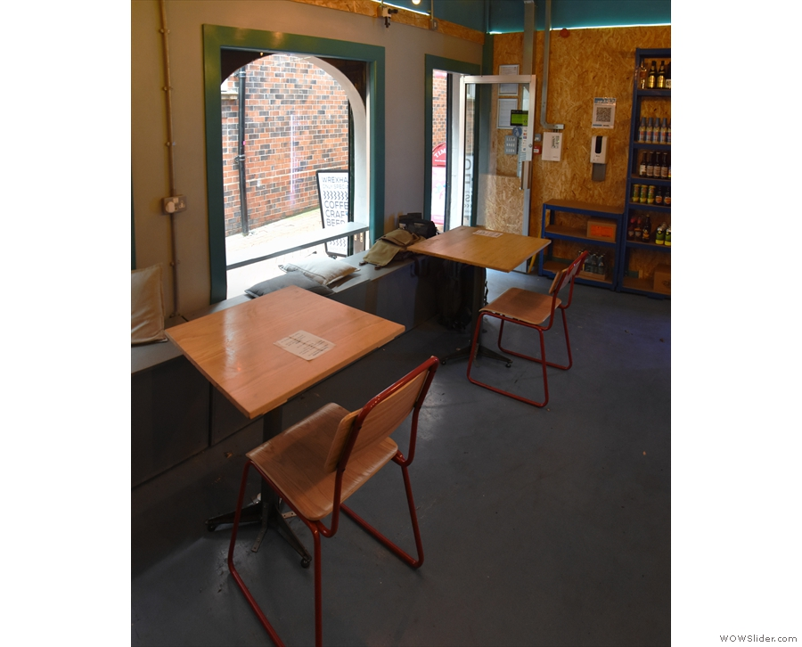 The first two tables, seen looking towards the door.
