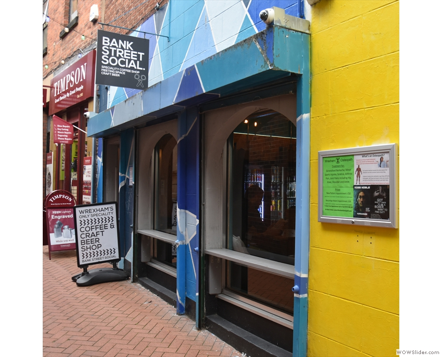 ... is the striking facade of Bank Street Social, Wrexham's only coffee and craft beer shop.