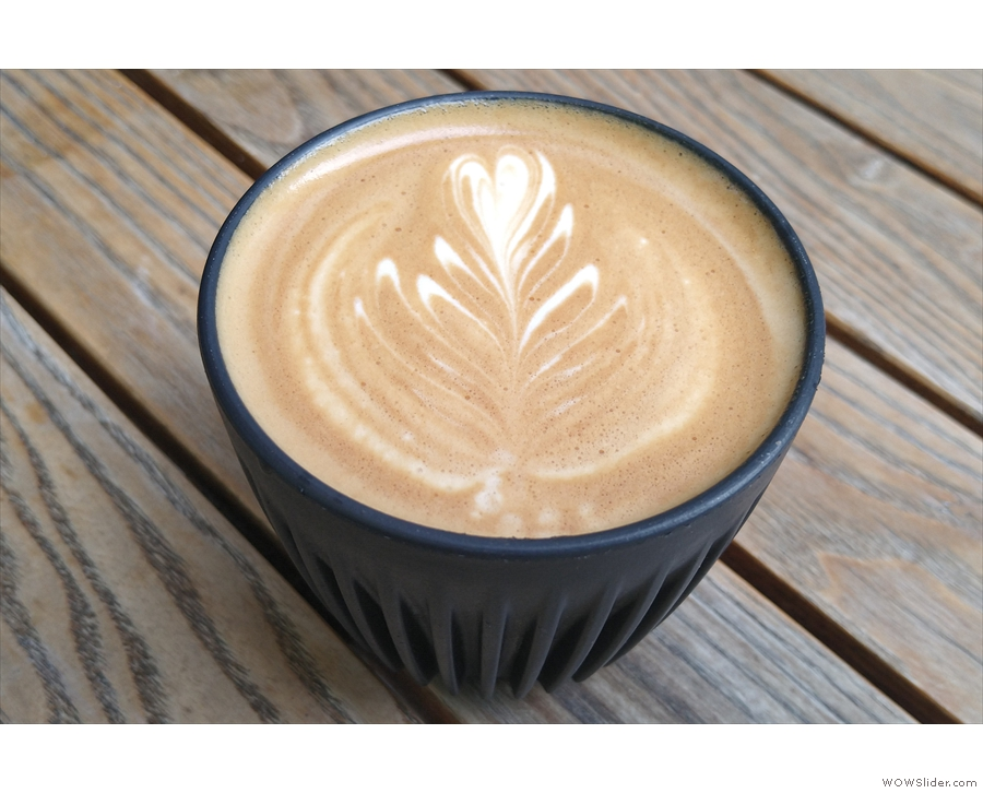 I started off with a flat white in my HuskeeCup, which I enjoyed while sitting outside...