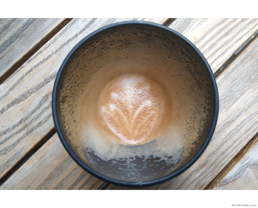 ... my latte art lasting all the way to the bottom of the cup.