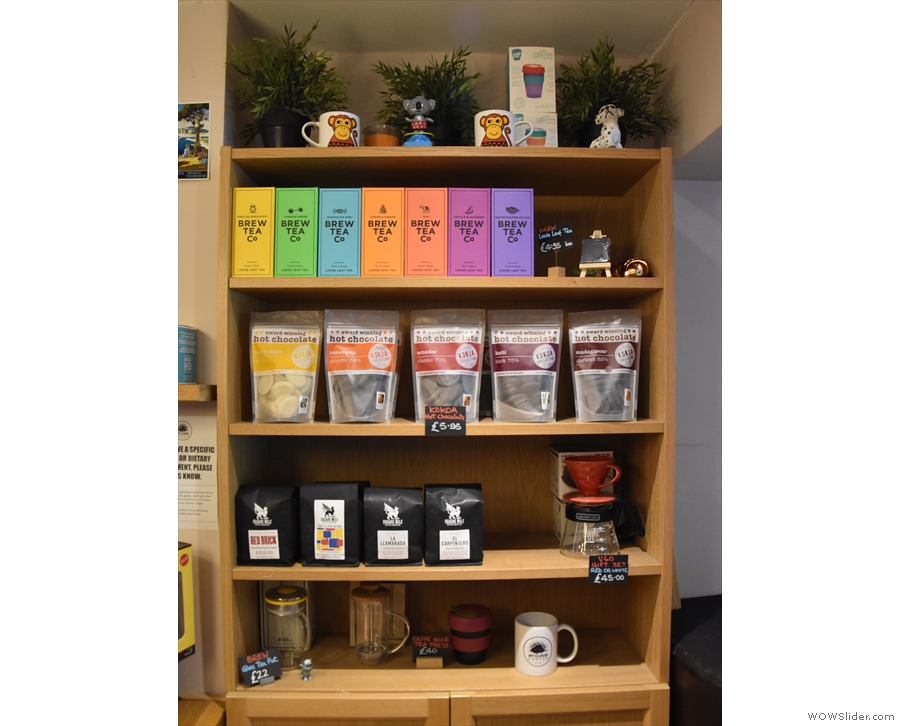 ... and retail shelves on the right. There's Brew Tea Co., Kokoa Collection hot chocolate...