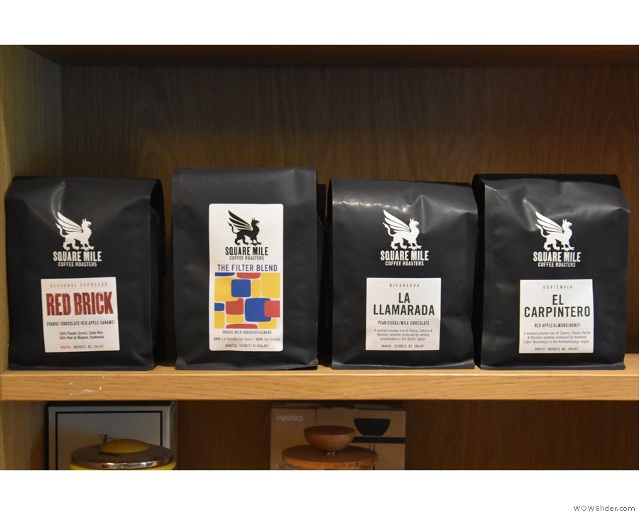 ... and, along with coffee making kit, retail bags of Square Mile coffee.
