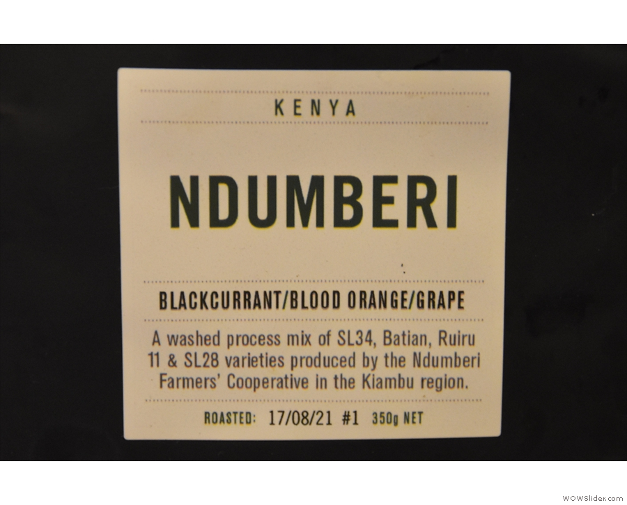 ... made with this washed coffee from the Ndumberi Farmers' Cooperative in Kenya.