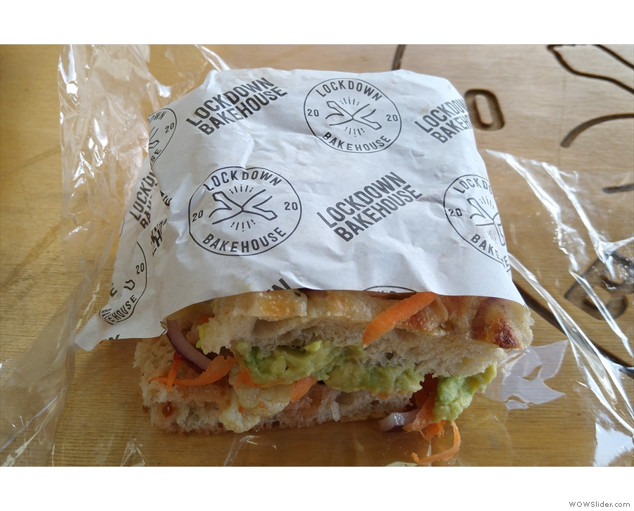 ... a vegan sandwich on focaccia, which was hard to photograph well...