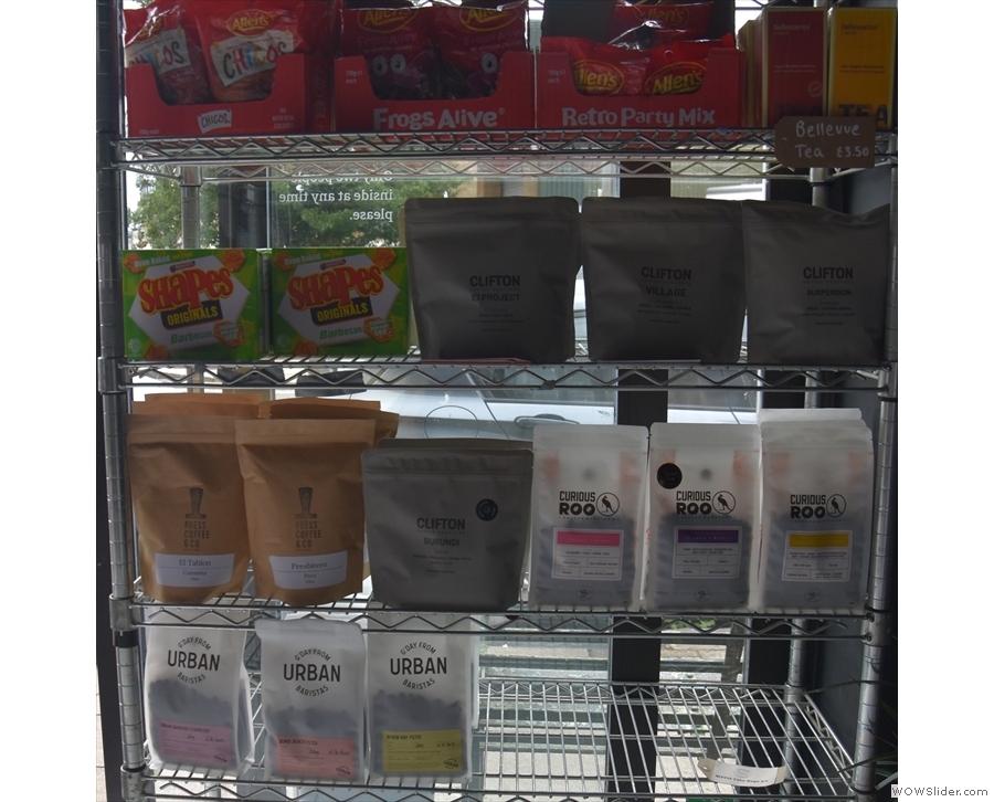 ... and bags of coffee from Clifton Coffee Roasters and various London roasters.