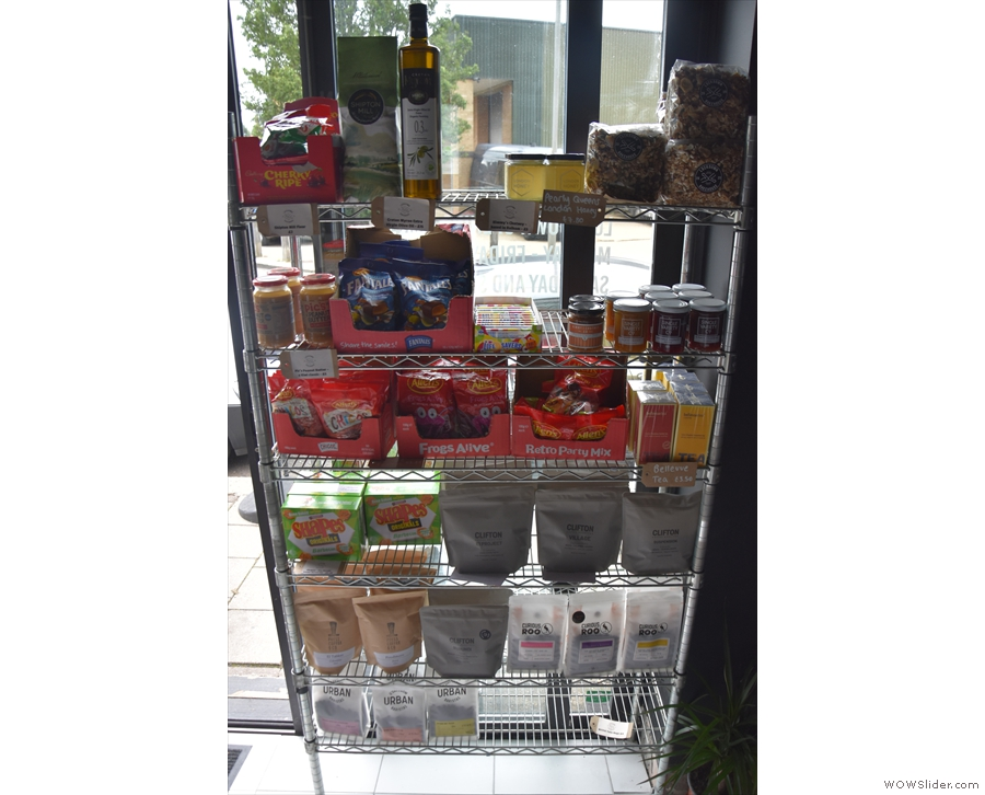 Meanwhile, on the shelves next to the door, there's various produce...