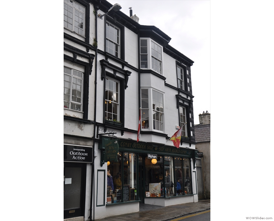 Above an outdoor shop on Conwy's Castle Street, you'll find Anna's Tea Rooms