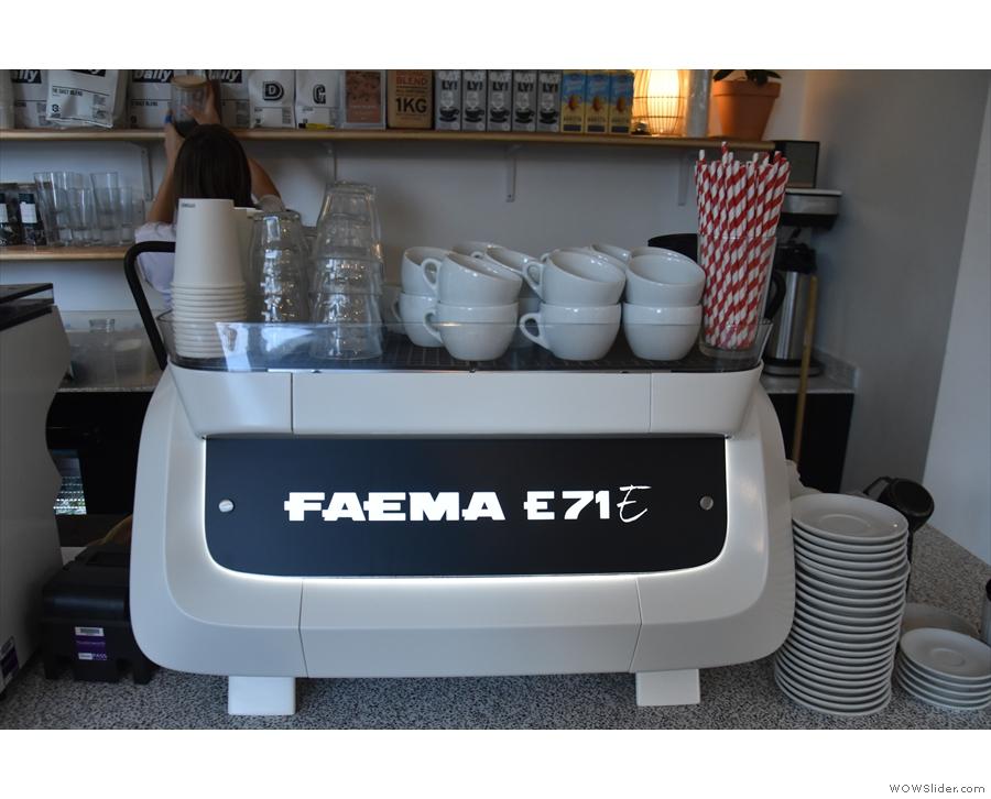 All the shots are pulled on this shiny Faema E71E.