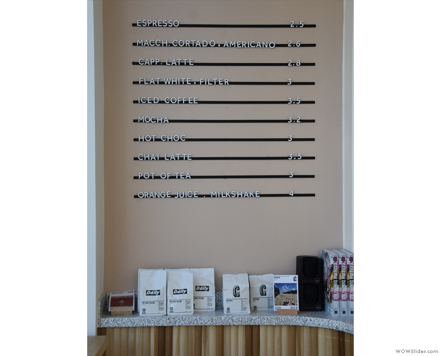 ... and next to that, between the counter and the window, is the drinks menu...