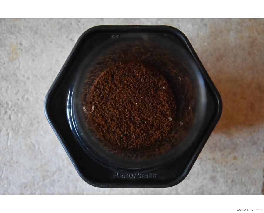 Put the ground coffee into the AeroPress (no need to preheat) before...