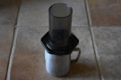 Next, assemble the AeroPress, without plunger. I prefer to use the funnel to press into.