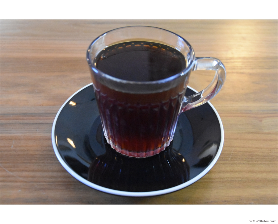 ... in Ethiopia, which is the filter option, made using the V60 and served in a glass cup.