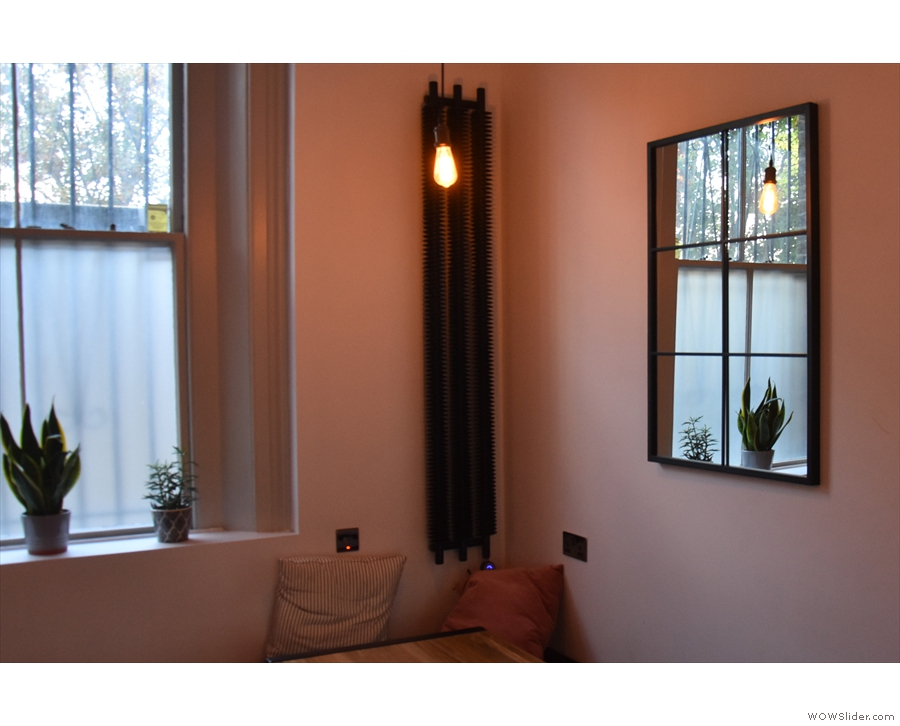 A busy corner, with power outlets, mirror, window, plants, light and a vertical radiator.
