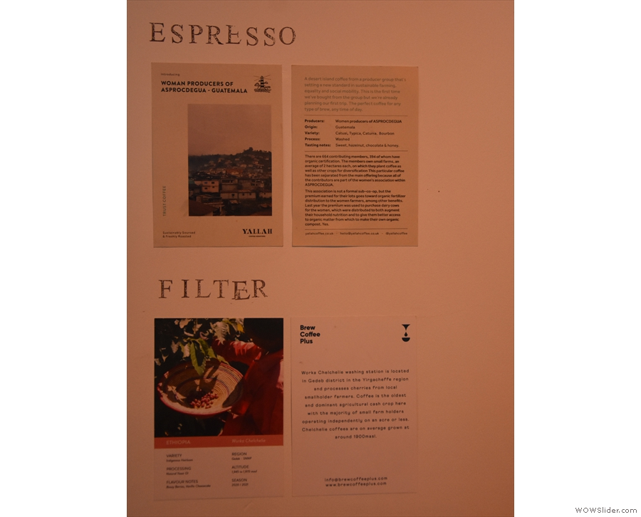 ... with detals of the current seasonal espresso and filter offerings on the wall.