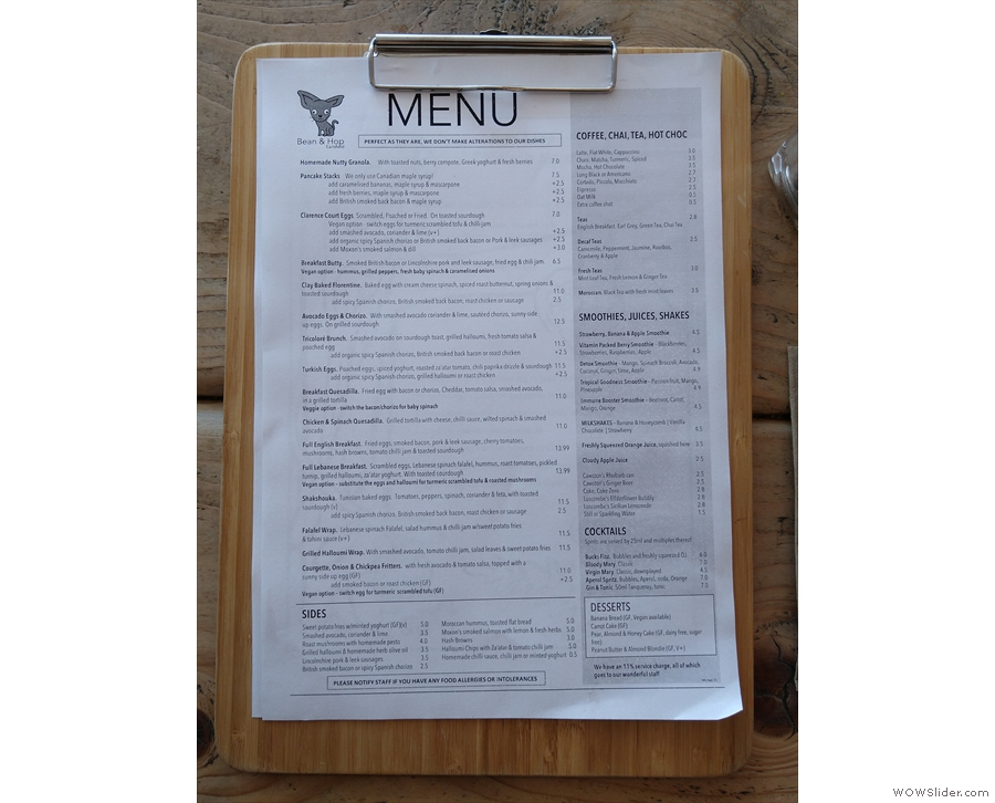 ... and the extensive brunch menu.