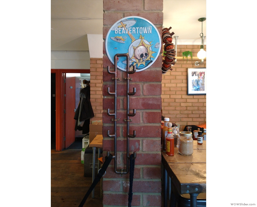 Bean and Hop is full of neat features, such as these old pipes which act as coat hooks.