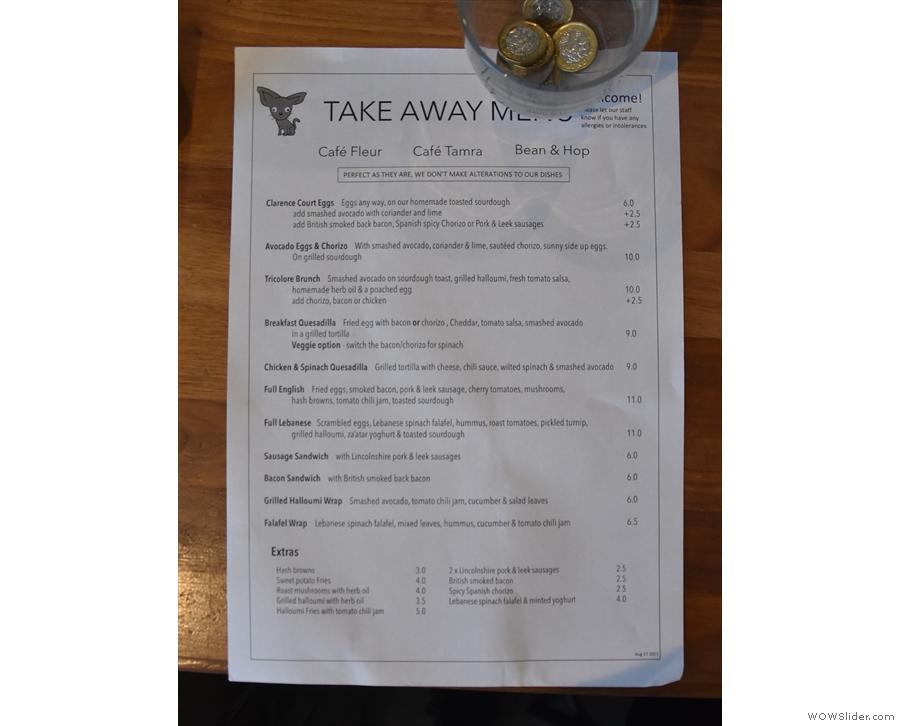 ... where you'll find a separate takeaway food menu.