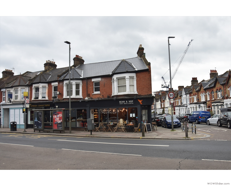 On Garratt Lane, south of Earlsfield Station, a terrace of houses ends on a corner.