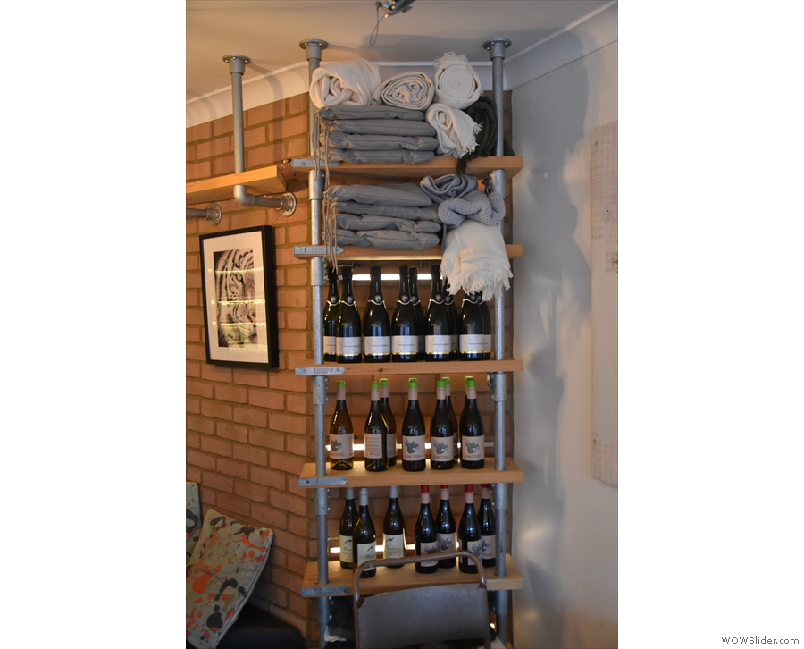As well as coffee beans, there are bottles of wine that you can buy to take home...