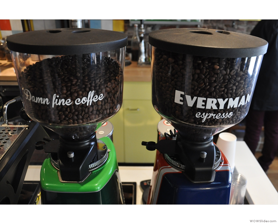 The twin espresso grinders with the house-blend (Rustico) and single-origin (Burundi)
