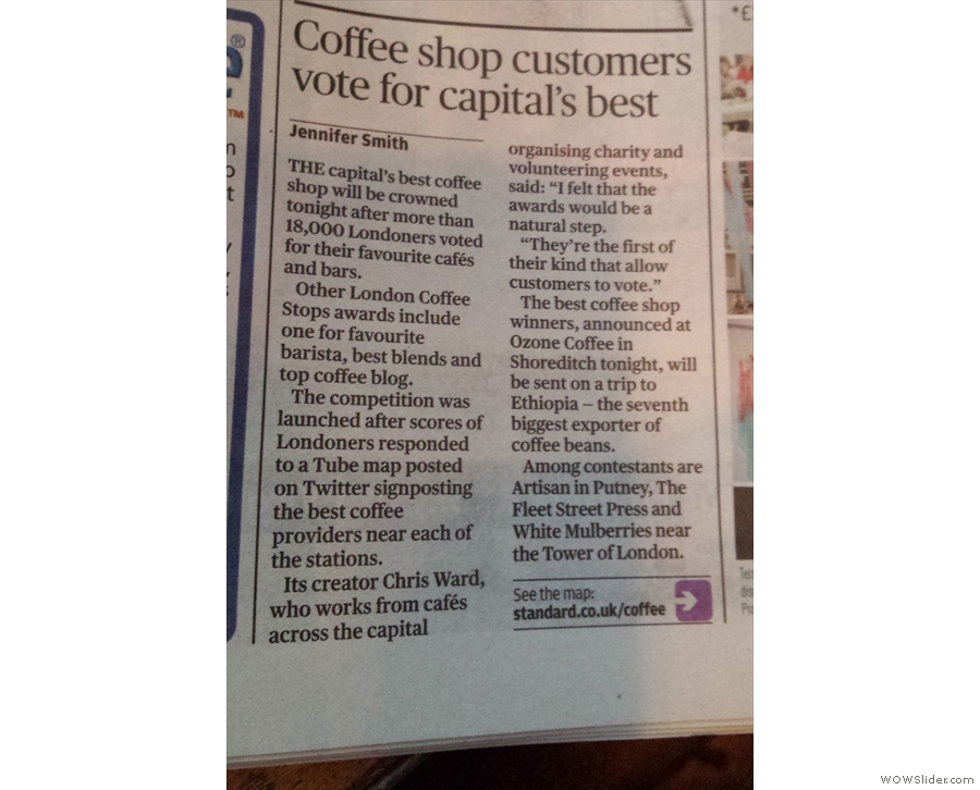 Wednesday was Coffee Stops Awards night... Look! We made the Evening Standard!