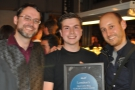 Daniel, with the two bloggers he pipped to the post, me & Jonny of London Cafe Reviews