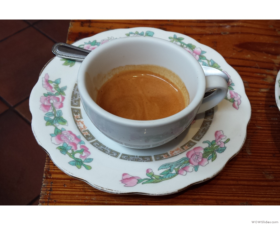 I paired this with a lovely espresso, complete with excellent mismatched saucer.