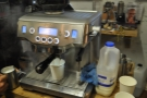 At 55C, the milk is done, so we remove the jug. The espresso is almost done too.