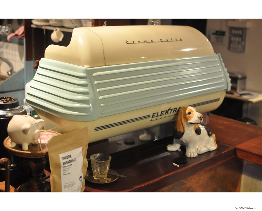 The Elektra espresso machine, and the dog, are worth a closer look...
