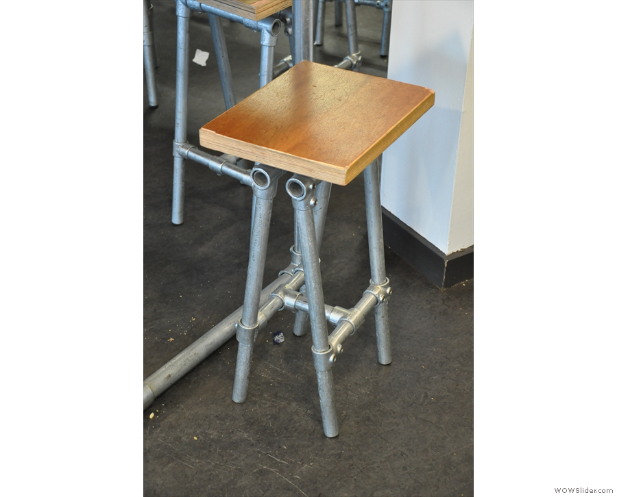 One of the many stools. No chairs though.