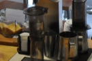 Here an Aeropress is being pre-warmed.