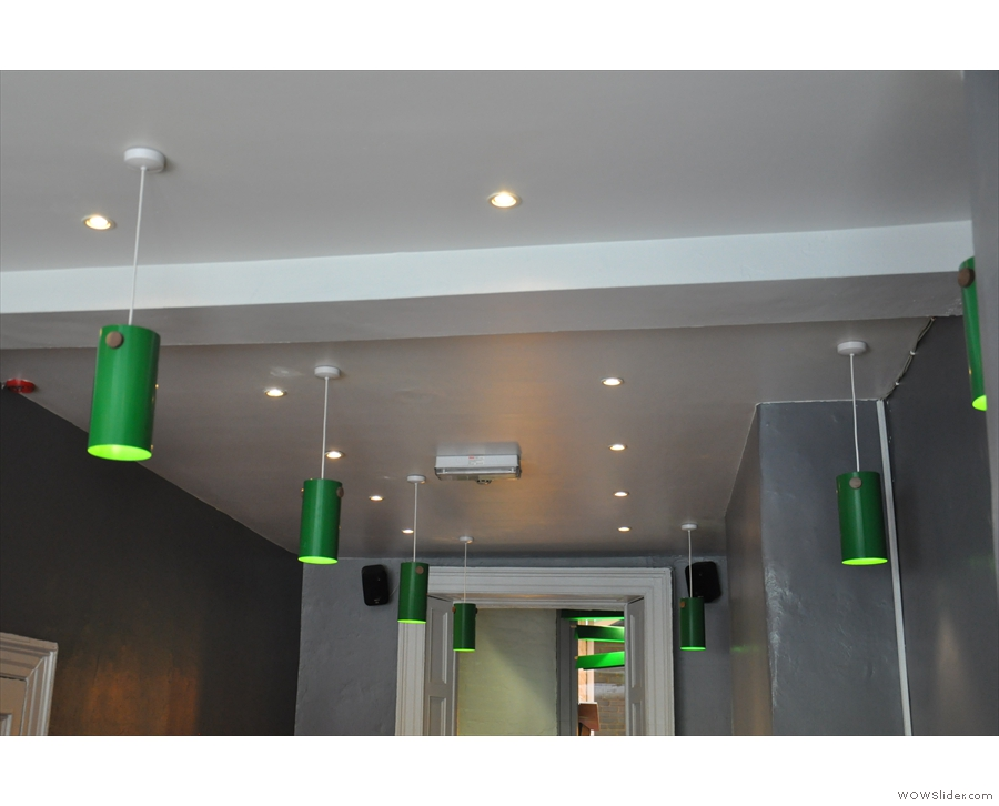 I was very taken by the green, cylindrical light shades.