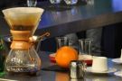 Meanwhile, the coffee in the Chemex has almost all filtered through.