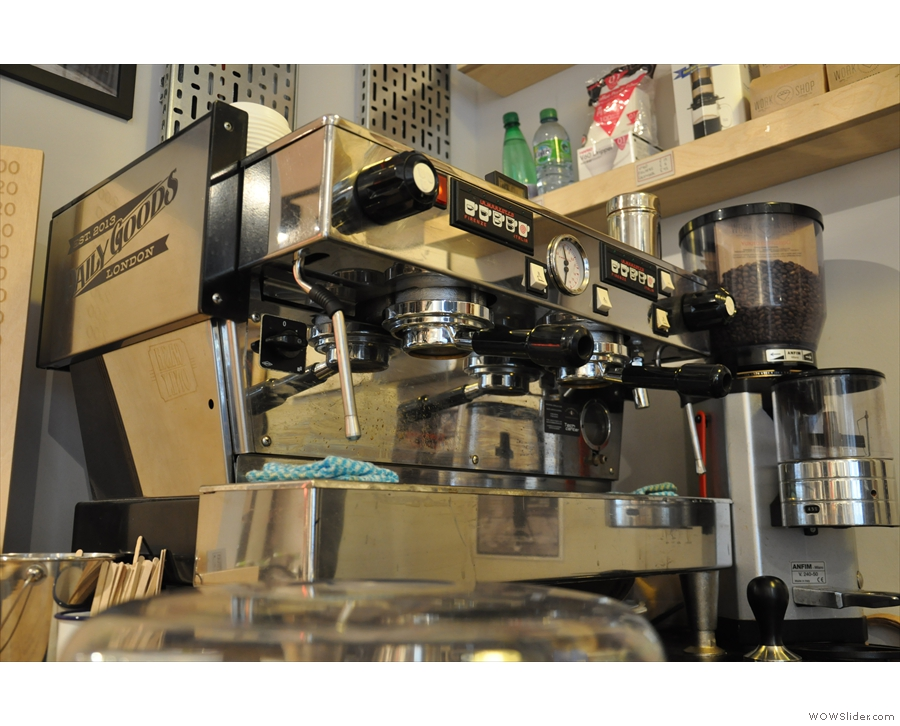 The doughnut-eye view of the La Marzocco; check out those bottomless portafilters.