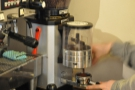 I followed this up with a piccolo. Here Carter grinds the beans (Ethiopian Yukro).