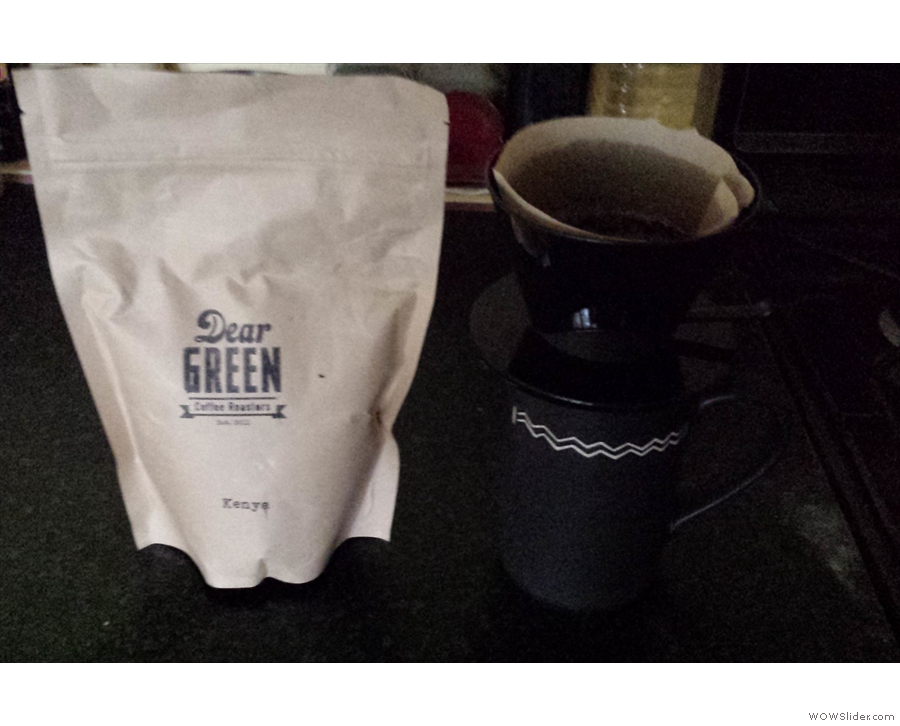 Lisa gave me a bag of the Kenyan. Here it is in a bad photo with my pour-over filter.