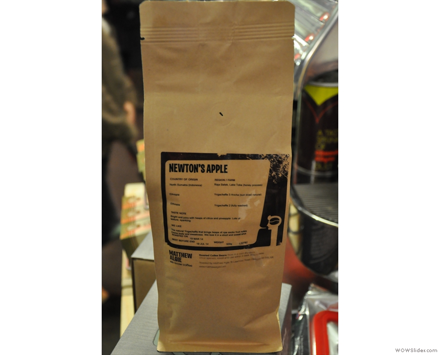 The Newton's Apple epsresso blend, one of the two being launched at the Festival.