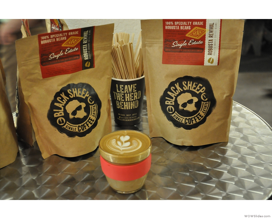Keep Cup #2 with a flat white, meets the Black Sheep Coffee Bags.
