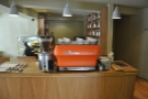 Okay, to business. The espresso is made with this orange La Marzocco...