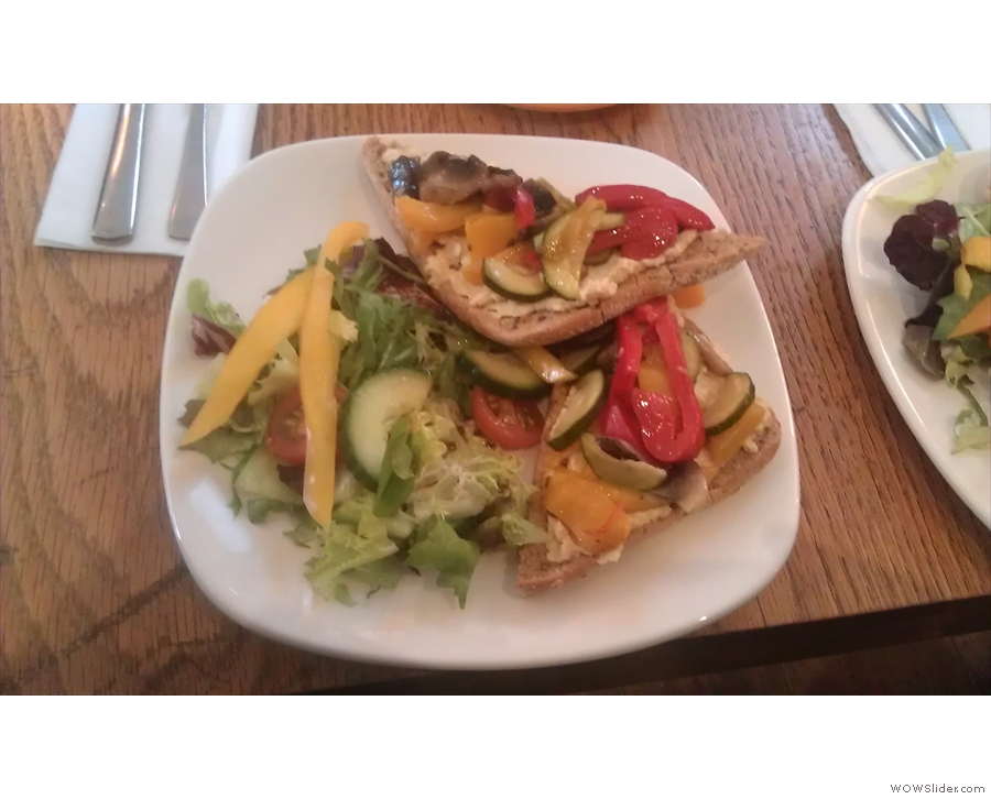 We also had lunch: this was an 'open' sandwich, ie, things on bread. In my case, roasted vegatables and bree. It was excellent.
