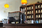 The view from the sofa: that's better; the La Marzocco stands up for coffee!