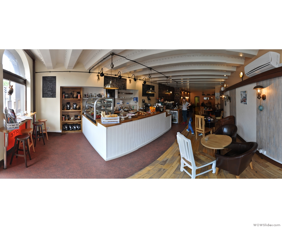 And here we are: a panoramic view of Torre from just inside the door. Please excuse the disembodied pair of legs!