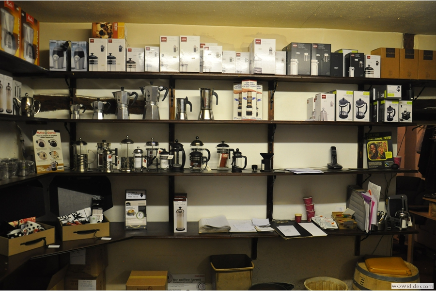 Further back, in the back room, in fact, is the coffee-making equipment