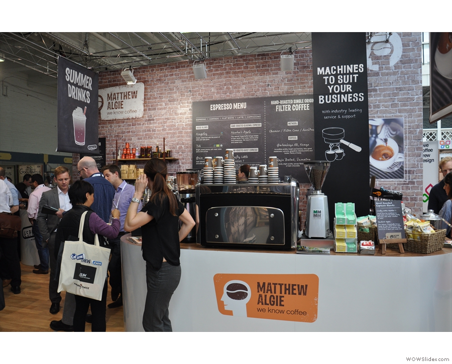 Next stop was the Matthew Algie stand to catch up with Lee Hall, the London coffee rep.