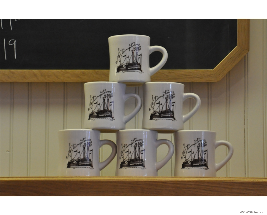 Wherever I went, I kept finding pyramids of Stumptown mugs!